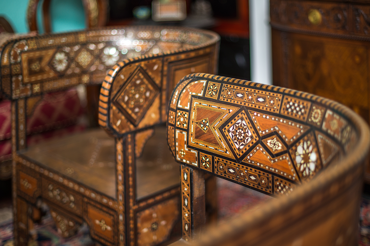 Intricate detail of some of the chairs inside the Villa Zorayda Museum