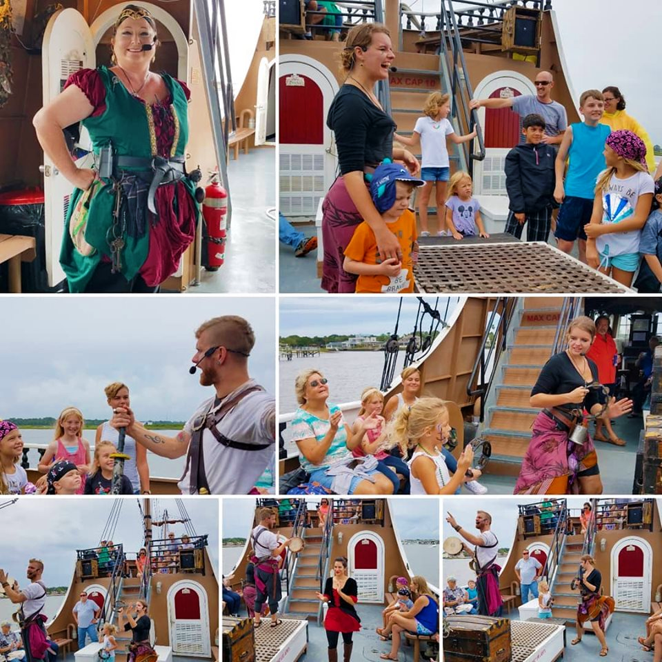 Collage of people enjoying and aboard Black Raven Adventures ship