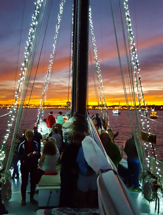 Schooner Freedom Nights of Lights view from being aboard, sailboat lit up