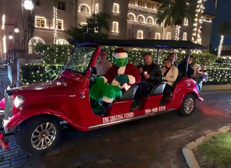 A Group of patrons aboard a Roadster of The Tasting Tour Nights of Lights Holiday Tour