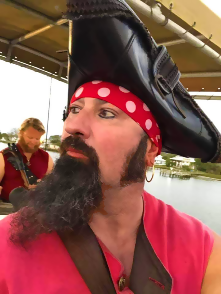 Pirate in full costume with Black Raven Adventures St. Augustine