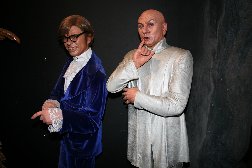Inside Potters wax museum, some wax figurines of Austin Powers