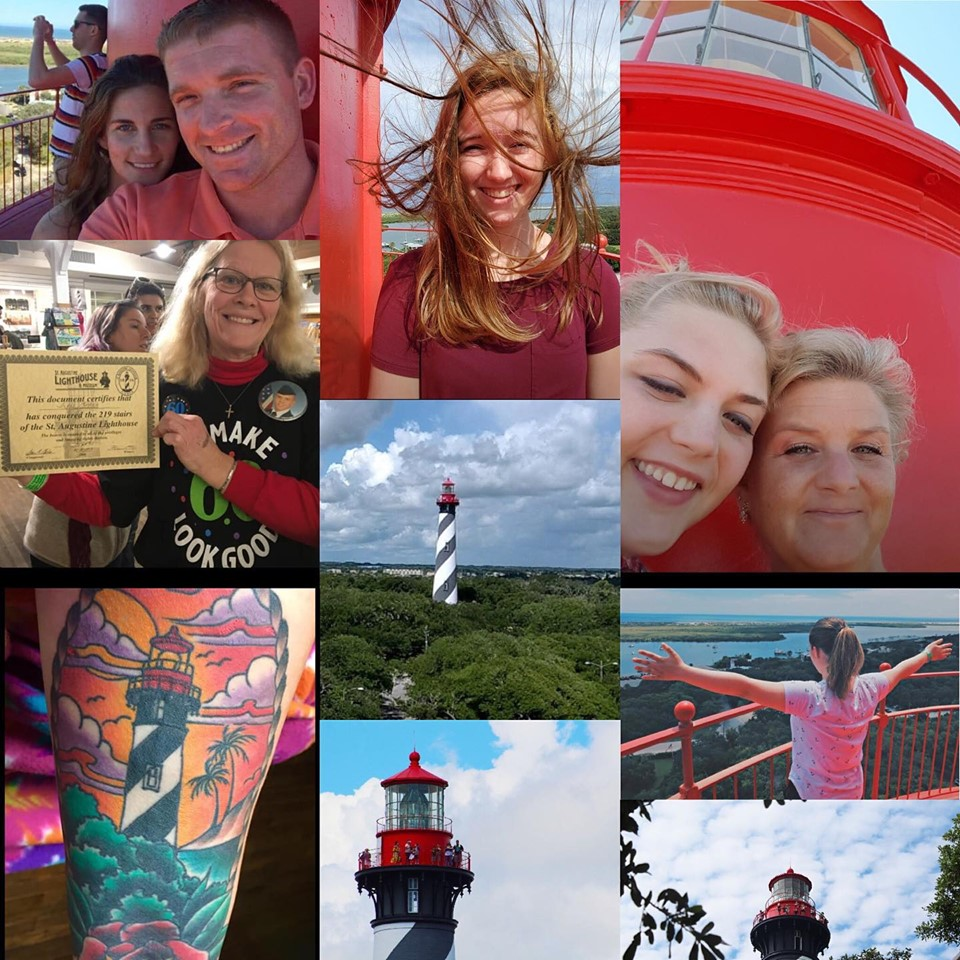 A collage of people enjoying visiting the St. Augustine Lighthouse, a tattoo of the lighthouse on a guest