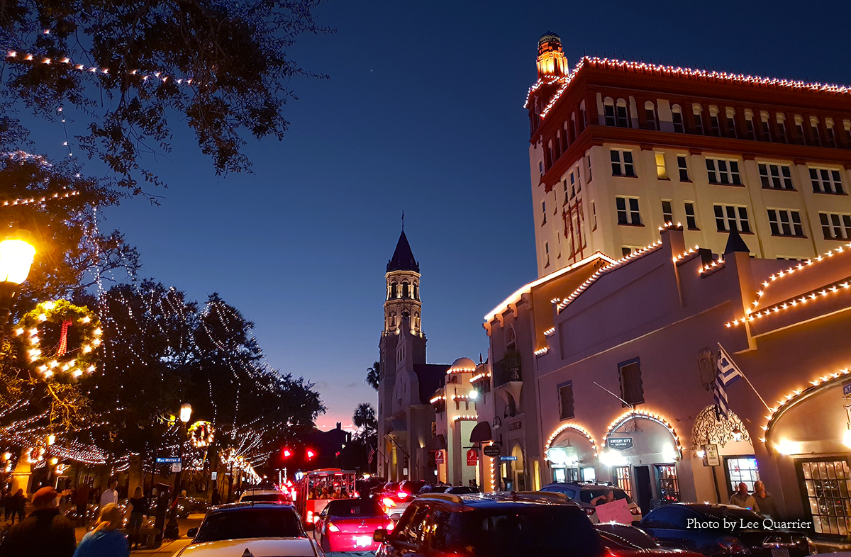 Picture capturing the Night of Lights Festival, Flagler Campus lit up