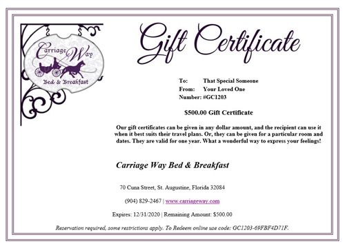 Carriage Way Gift Certificate